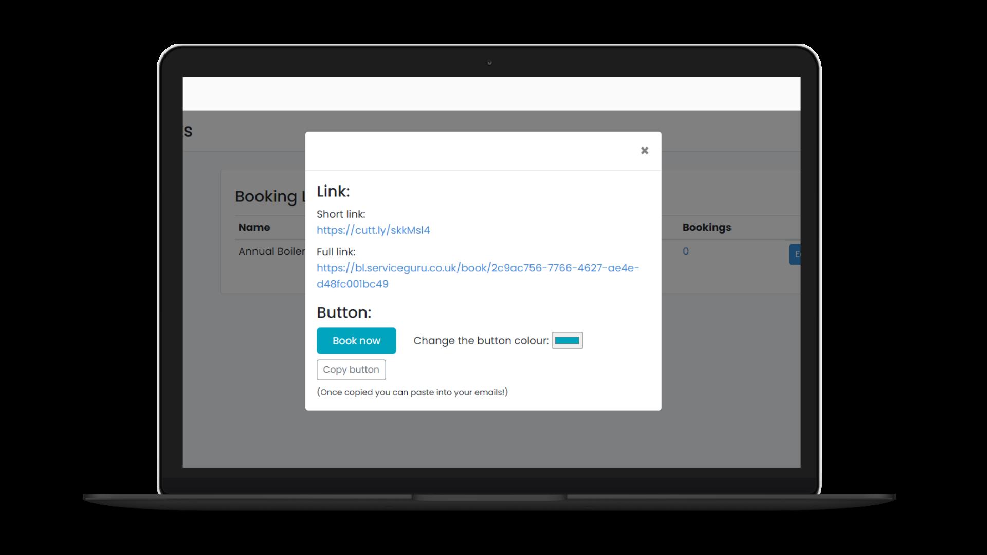 Booking Links screenshot