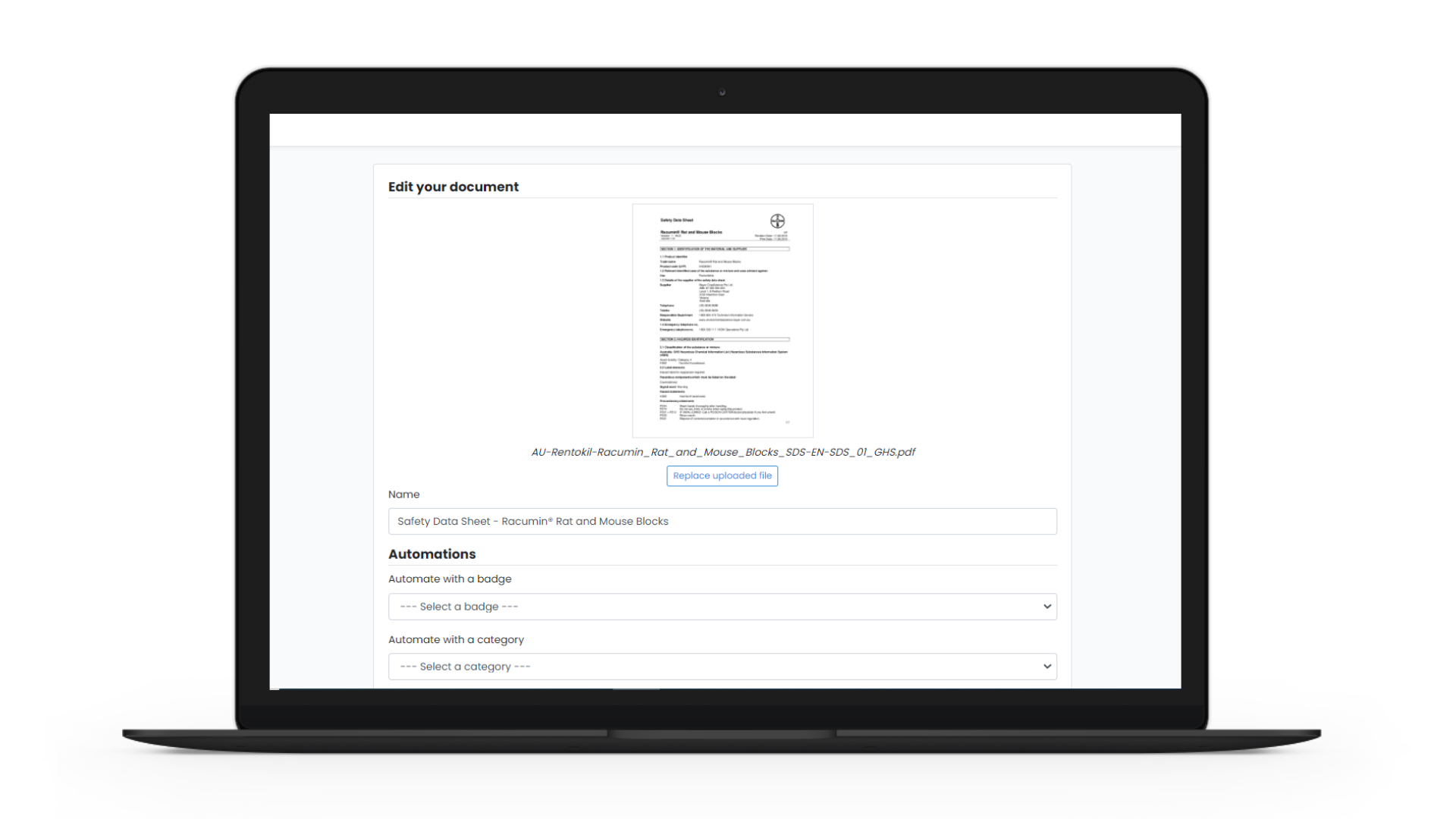 Document Uploader screenshot