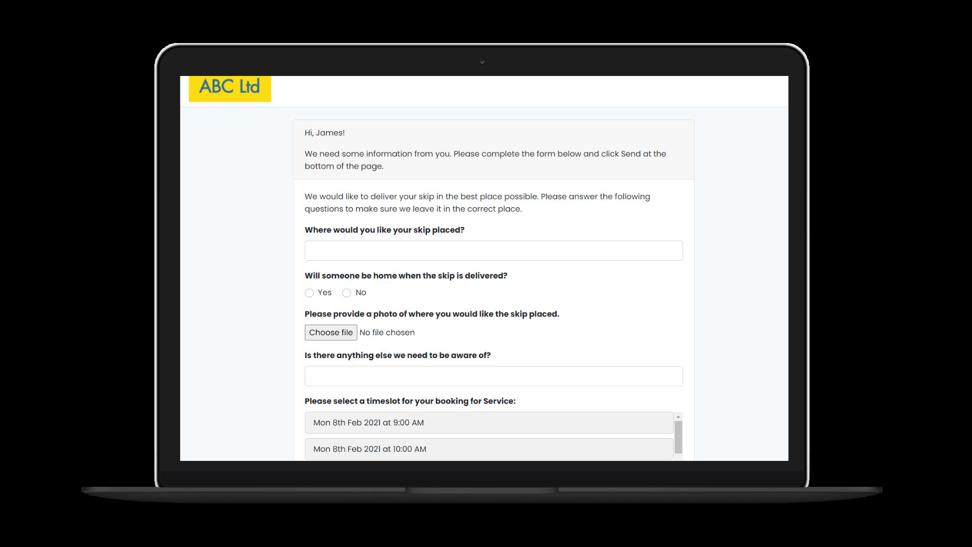 Information Request screenshot