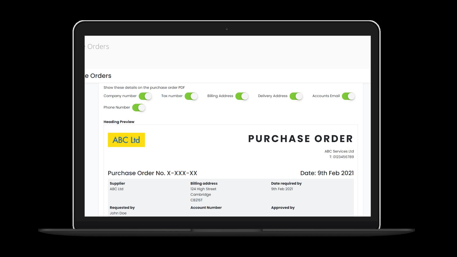 Purchase Orders screenshot